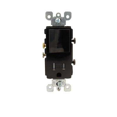 Decora 15 Amp Commercial Grade Combination Single Pole Rocker Switch and Outlet, Black