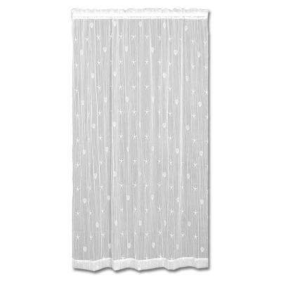 45 in. W x 84 in. L Sand Shell Polyester White Lace Curtain
