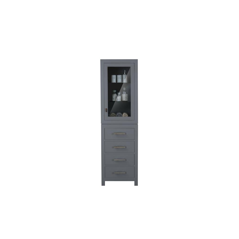 Water Creation Madison 21 in. x 17 in. D x 72 in. H Free Standing Linen Cabinet in Gray