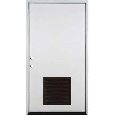 42 in. x 80 in. Classic Vented Flush RHIS White Primed Smooth Fiberglass Prehung Front Door with Composite 4-9/16 Frame