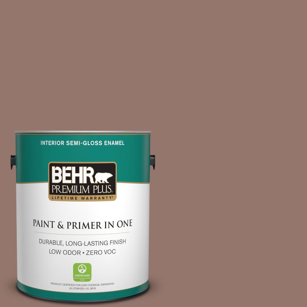 1-gal. #N160-5 Chocolate Delight Semi-Gloss Enamel Interior Paint
