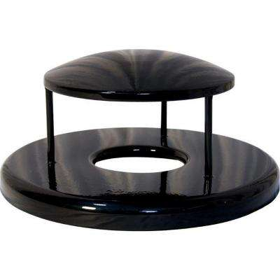 32 gal. Powder Coated Black Commercial Park Rain Bonnet Receptacle Lid
