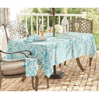 Turquoise Chase Geometric Stain Resistant Indoor Outdoor Tablecloth with Umbrella Hole