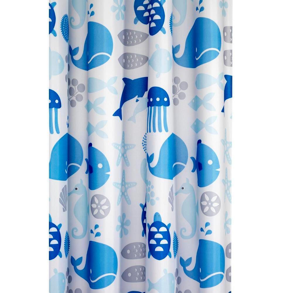 Croydex 70-7/8 in. Coast Shower Curtain in Blue/White