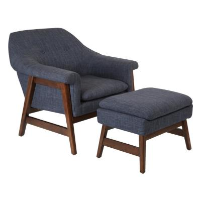 Flynton Chair and Ottoman in Navy Fabric with Medium Espresso Frame