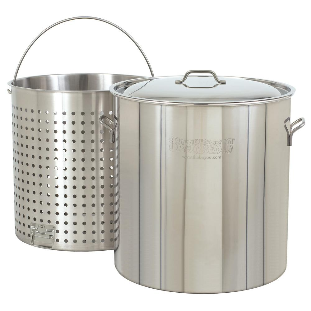 142 qt. Stainless Steel Stockpot with Basket and Lid