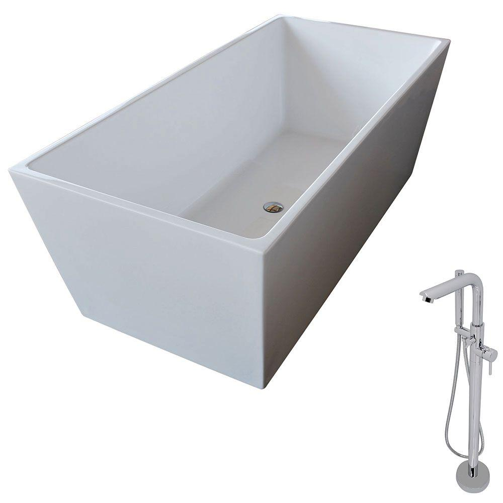 Anzzi Fjord 66 8 In Acrylic Classic Freestanding Flatbottom Non Whirlpool Bathtub In White And