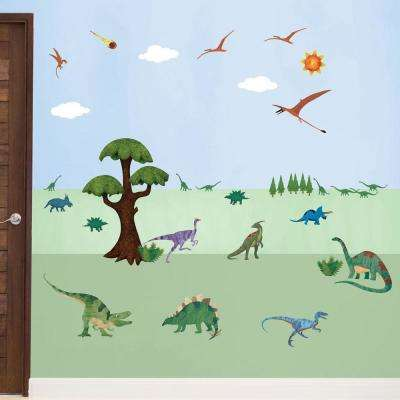 Dinosaur Multi Peel and Stick Removable Wall Decals Dinosaur Room Theme Mural (35-Piece Set)