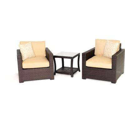 Metropolitan 3-Piece All-Weather Wicker Patio Chat Set with Sahara Sand Cushions