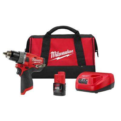 M12 FUEL 12-Volt Lithium-Ion Brushless Cordless 1/2 in. Hammer Drill Kit with 2.0 Ah Battery and Bag