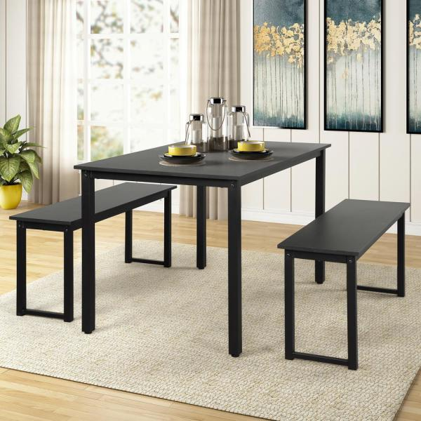 Harper Bright Designs 3 Piece Black Dining Table Set With 2 Benches Wf189715aab The Home Depot