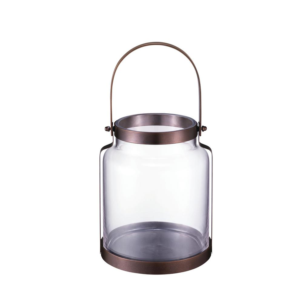 Hampton Bay 8.18 in. Metal and Glass Lantern in Copper