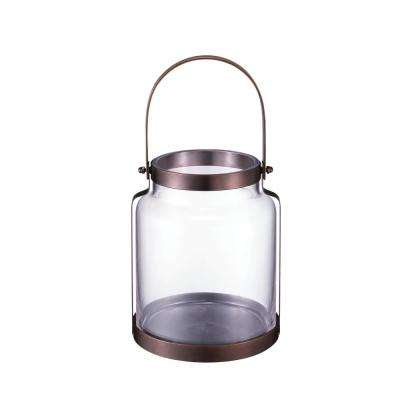 8.18 in. Metal and Glass Lantern in Copper