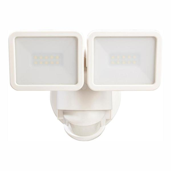 180° White Motion Activated Outdoor Integrated LED Flood Light Twin Head