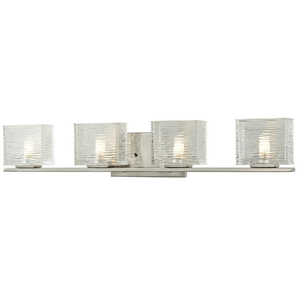 Filament Design Jael 4-Light Brushed Nickel Bath Light with Clear Glass Shade