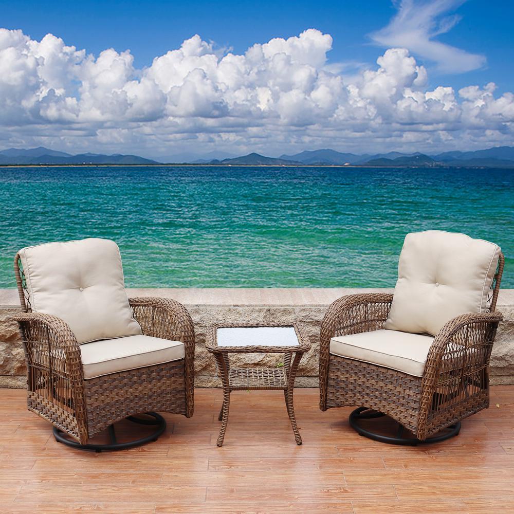 Light Brown 3-Piece Swivel Wicker Patio Conversation Set with Beige Cushions