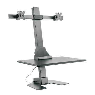 Premium Series Black Electric Sit-Stand Workstation, Dual Monitor