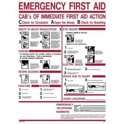 18 in. x 24 in. Emergency First Aid ABC's Sign Printed on More Durable, Thicker, Longer Lasting Styrene Plastic
