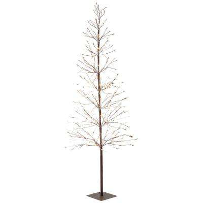 6 ft. Pre-Lit LED Snowy Brown Artificial Christmas Tree