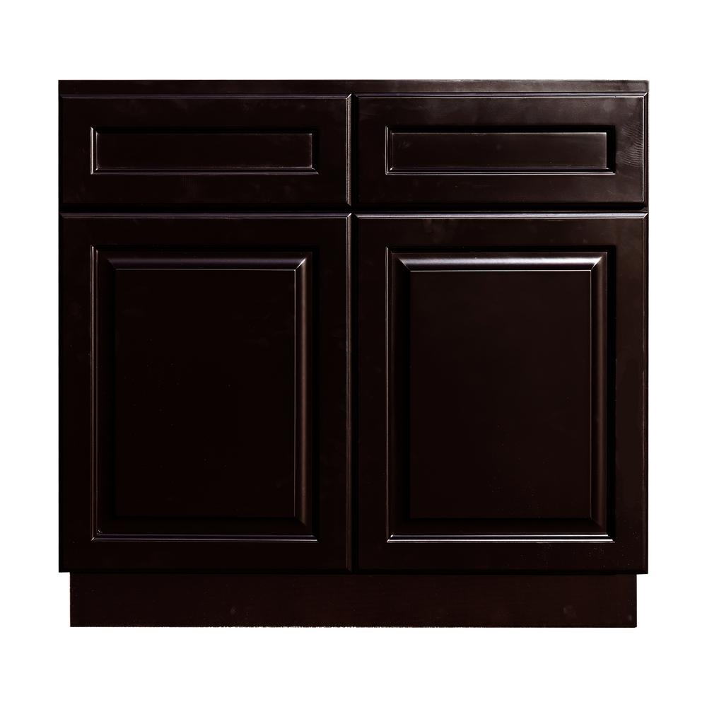 LIFEART CABINETRY La. Newport Assembled 36x34.5x24 in. Base Cabinet with 2-Door and 2-Drawer in Dark Espresso