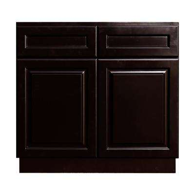 La. Newport Ready to Assemble 33x34.5x24 in. Base Cabinet with 2 Door and 2 Drawer in  Dark Espresso