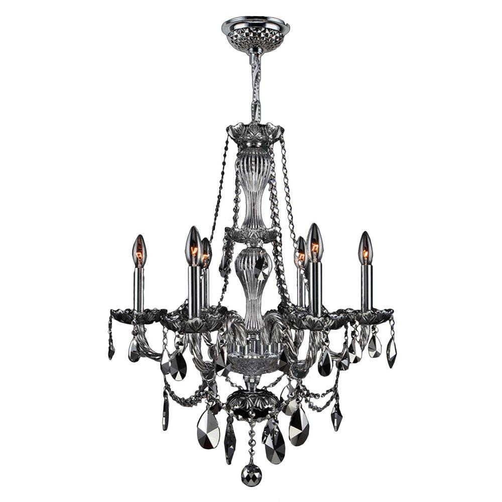 Worldwide Lighting Provence Collection 6-Light Chrome with Chrome Crystal Chandelier