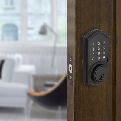 Castle Matte Black Electronic Single Cylinder Touchpad Deadbolt