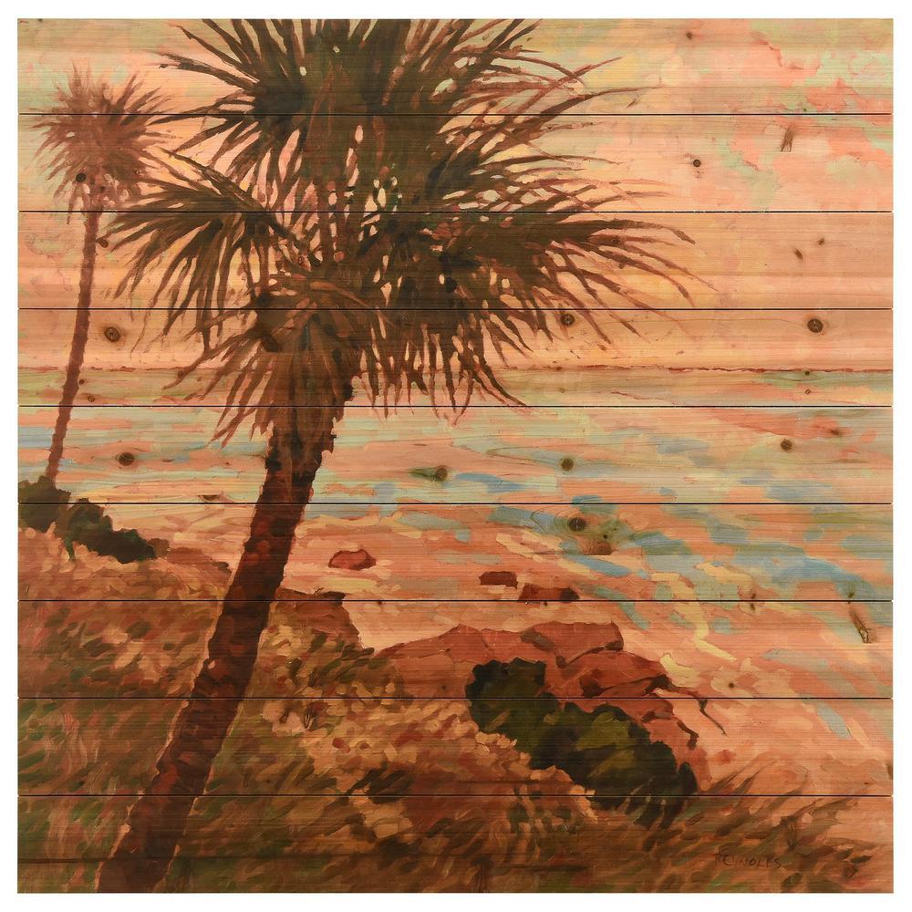 """""""Palm Breeze II"""" Arte de Legno Digital Print on Solid Wood Wall Art"""