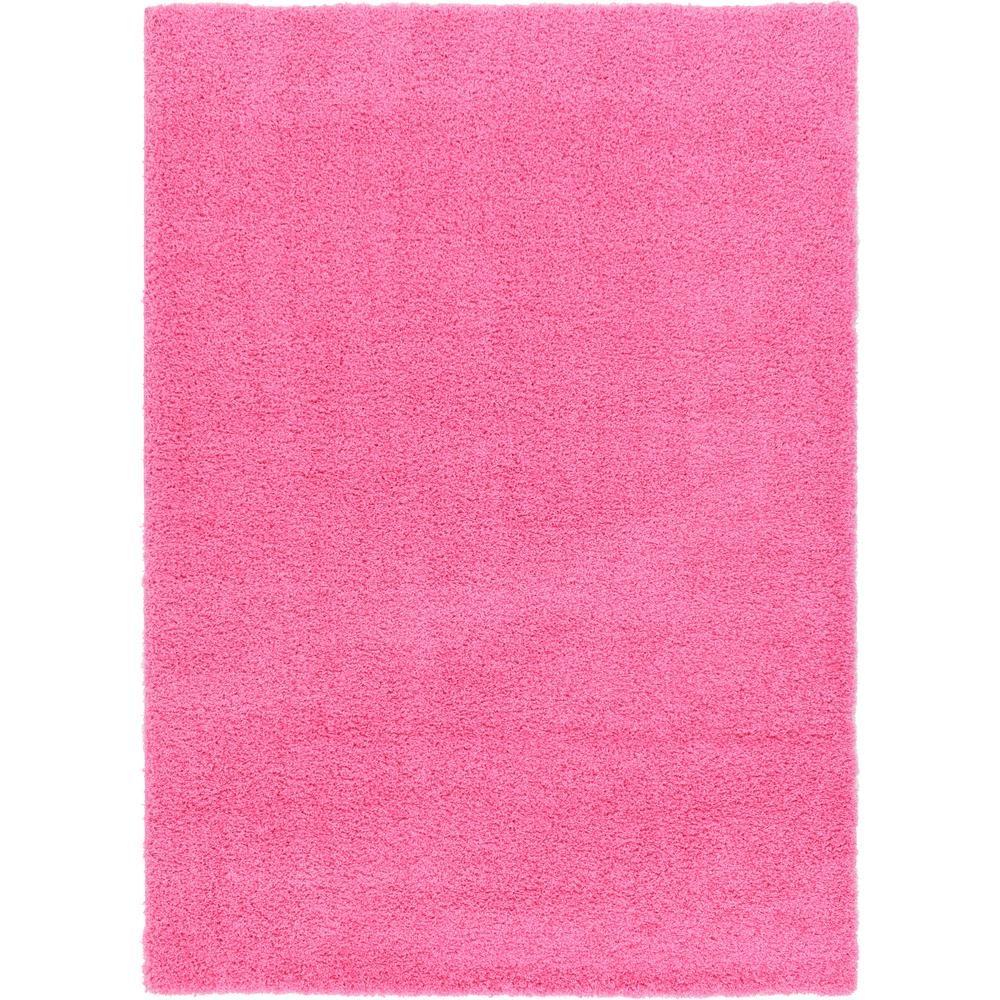 Unique Loom Solid Shag Taffy Pink 7 Ft. X 10 Ft. Area Rug