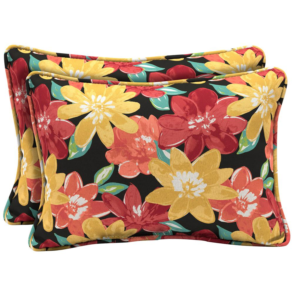 Arden Selections 22 x 15 Ruby Abella Floral Oversized Lumbar Outdoor Throw Pillow (2-Pack)