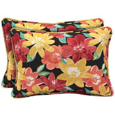 22 x 15 Ruby Abella Floral Oversized Lumbar Outdoor Throw Pillow (2-Pack)