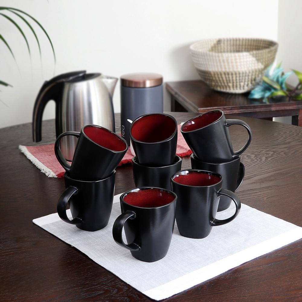 GIBSON elite Soho Lounge 12 oz. Red and Black Mug (Set of 8)