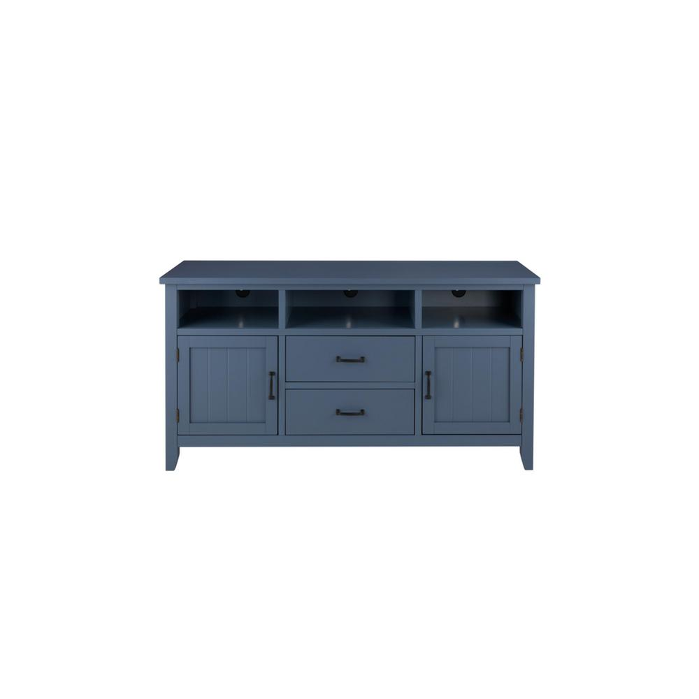 Home Decorators Collection Whitford Steel Blue Wood TV Stand with Two Doors and Two Drawers (58 in. W x 30 in. H) was $499.0 now $299.4 (40.0% off)