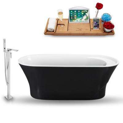 Tub, Faucet and Tray Set 59 in. Acrylic Flatbottom Non-Whirlpool Bathtub in Glossy Black