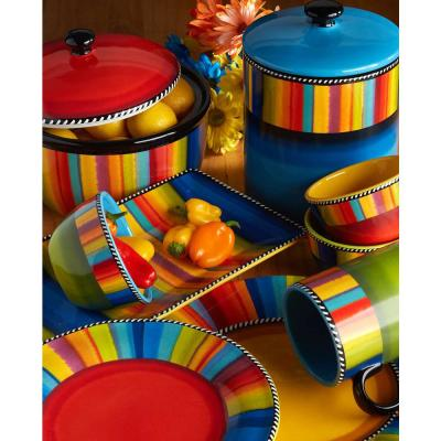 Sierra 4-Piece Multi-Colored Earthenware Soup/Pasta Bowl
