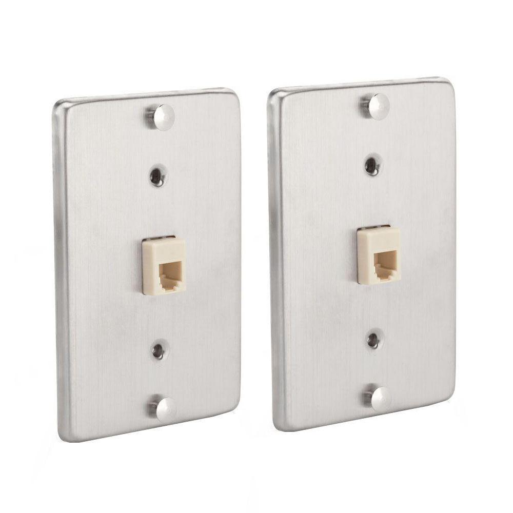 1 gang 1-line phone wall mount, metallic (2-pack)