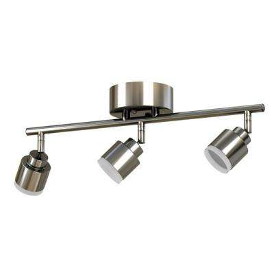 1.6 ft. 3-Light Brushed Steel Integrated LED Track Lighting Kit