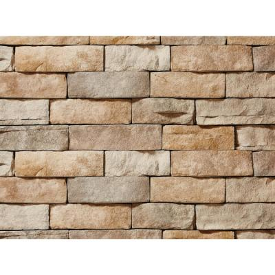 ClipStone 9 in. x 4 in. Manufactured Stone Ledgestone Tan Corner Siding (4 ft. Pack), Tan / Cream