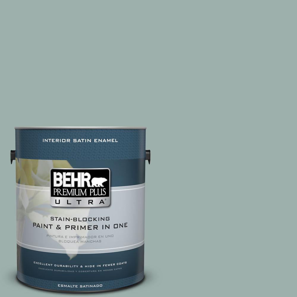 1 gal. #490F-4 Gray Morning Satin Enamel Interior Paint and Primer