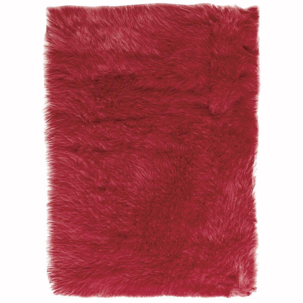 Faux Sheepskin Red 5 ft. x 8 ft. Area Rug