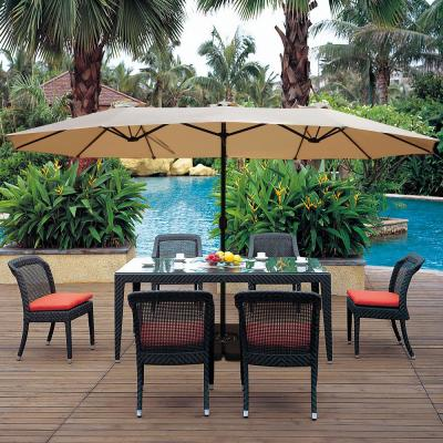 15 ft. x 9 ft. Market Rectangular Outdoor Patio Umbrella in Tan