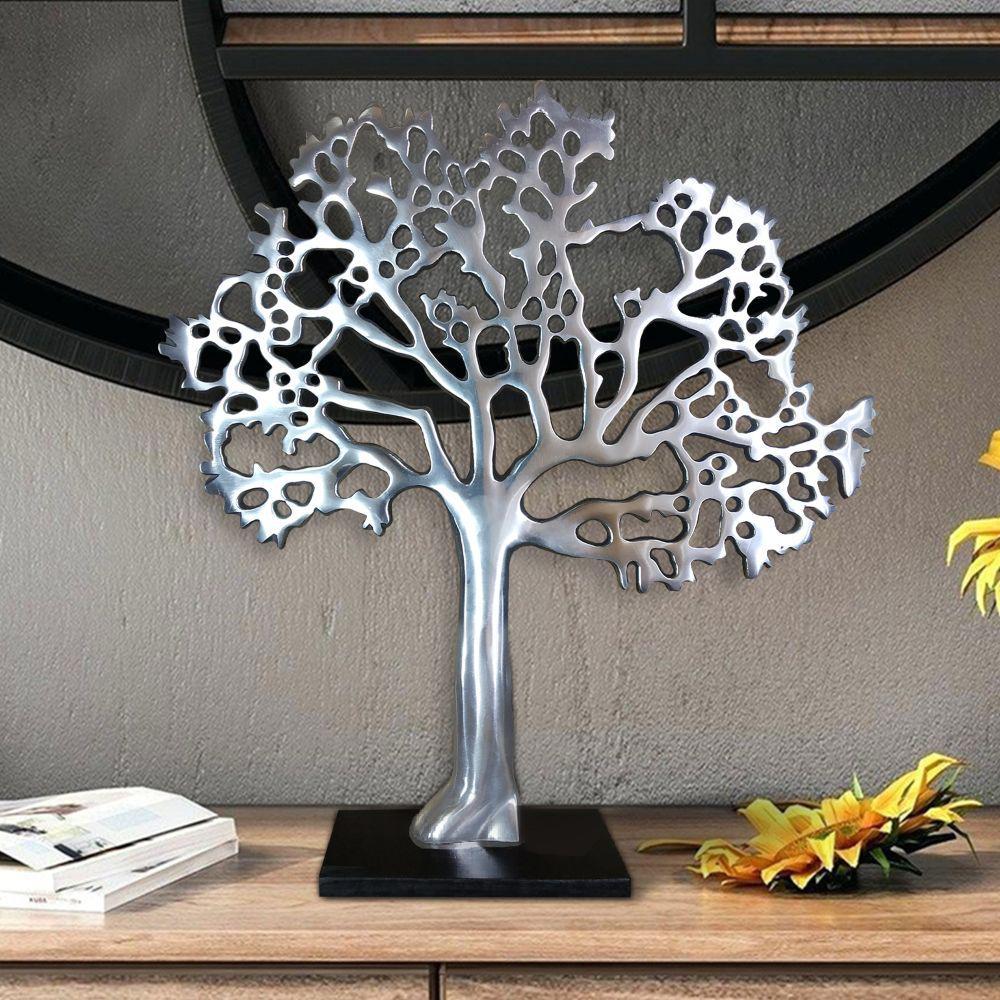 Stylish Silver and Black Aluminum Tree Decor with Block Base