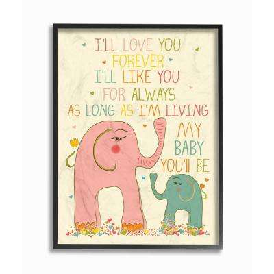 "11 in. x 14 in. ""Elephants Art, I'll Love You Forever"" by Karen Zukowski (Finny And Zook) Wood Framed Wall Art"