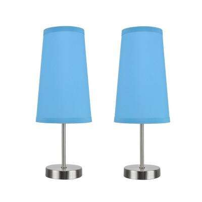 14-1/4 in. Satin Nickel Candlestick Table Lamp with Hardback Empire Lamp Shade in Sky Blue (2-Pack)