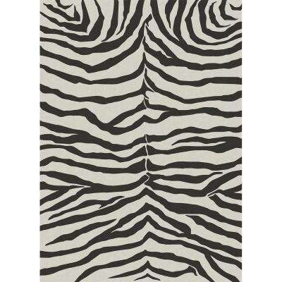 Washable Zebra Safari Black And White 5 Ft X 7 Area Rug