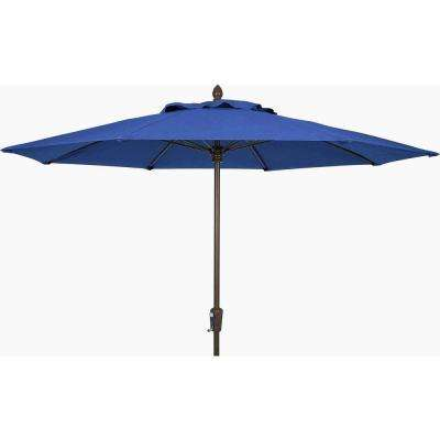 11 ft. Aluminum Patio Umbrella in Pacific Blue Acrylic