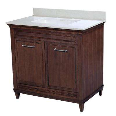 Cambridge 36.5 in. W x 21.5 in. D Vanity in American Walnut with Quartz Vanity Top in White and White Basin