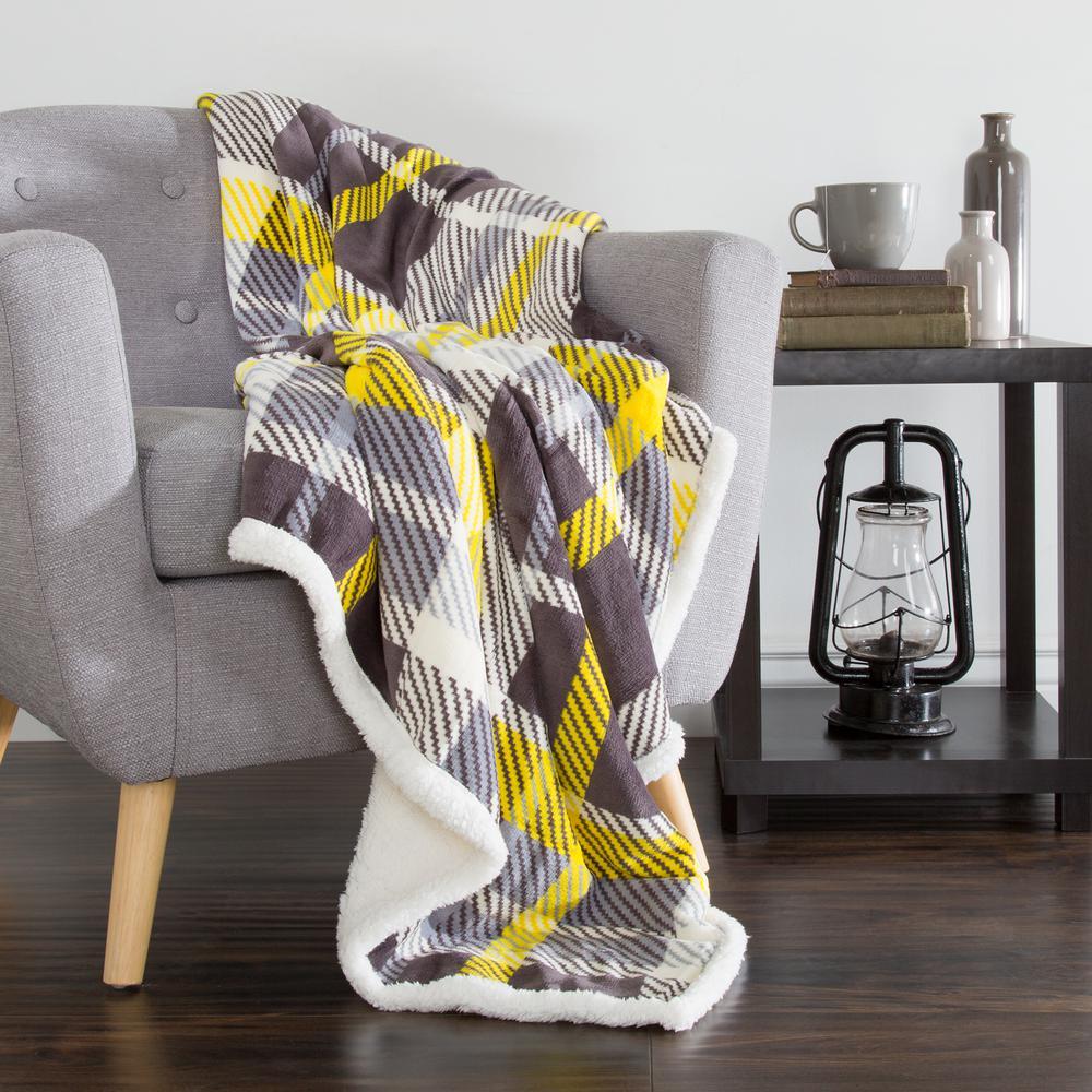 Yellow and Grey Plaid Fleece Sherpa Throw