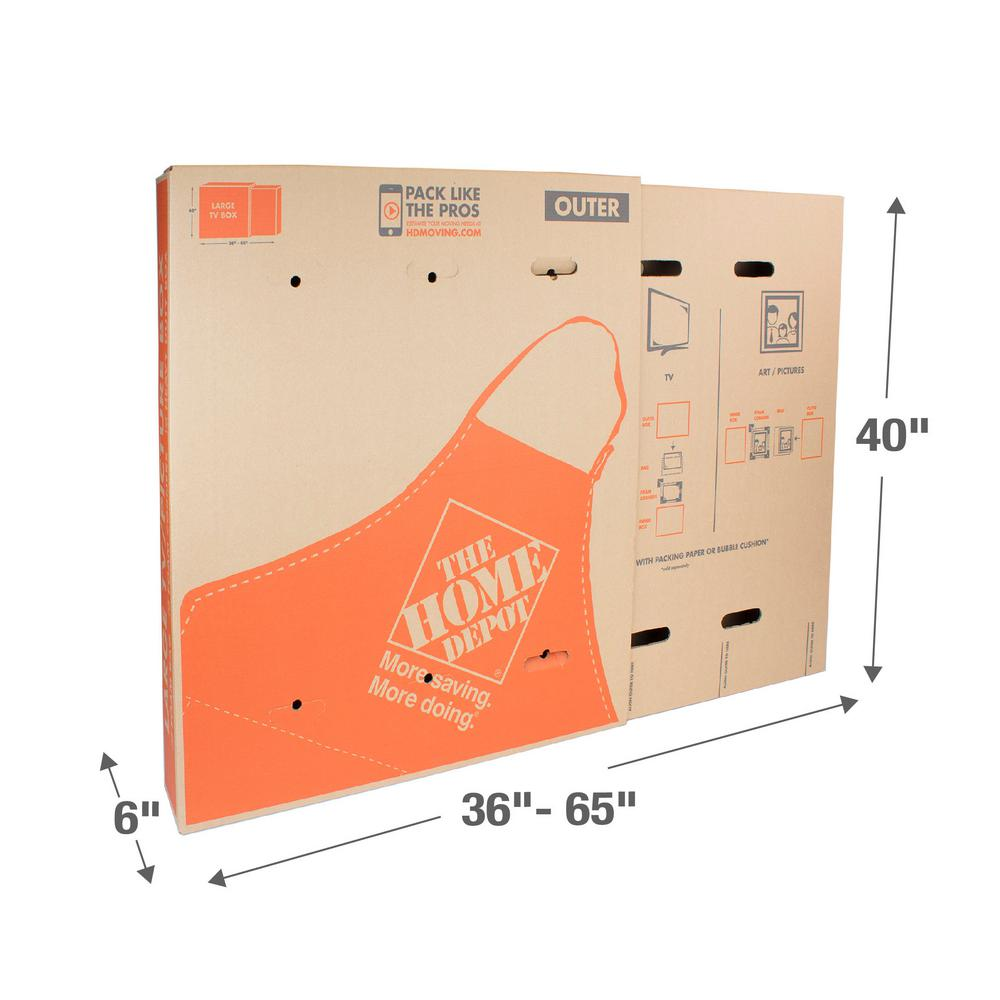 The Home Depot Heavy-Duty Large Adjustable TV and Picture Moving Box with Handles