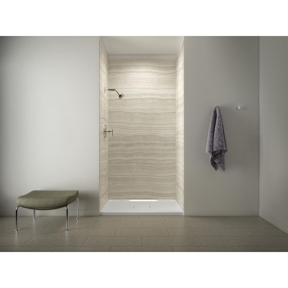 Archer Shower Base in White with Choreograph 96 in. 5-Piece Bath/Shower